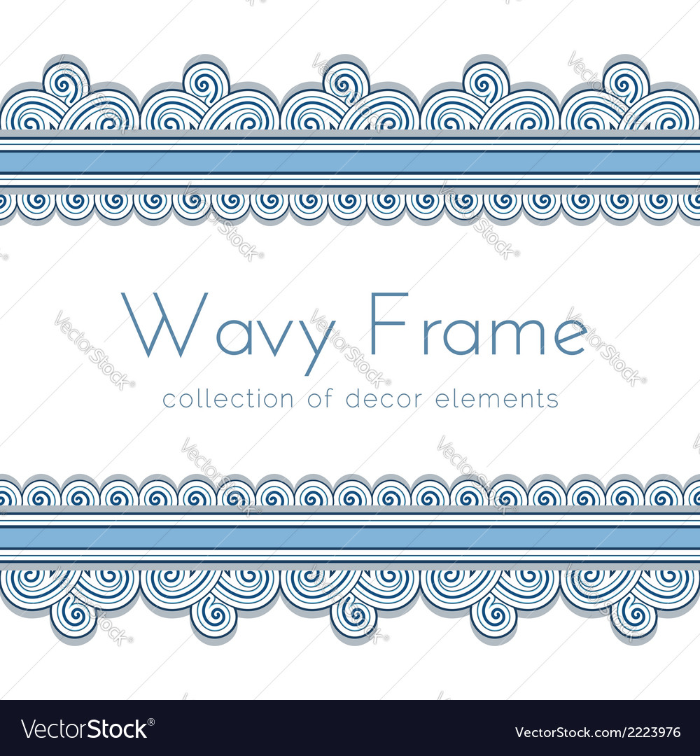 Wave border frame vector | Price: 1 Credit (USD $1)