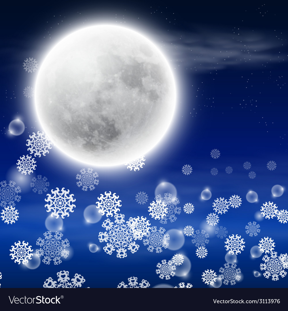 Winter night landscape with fullmoon vector | Price: 1 Credit (USD $1)
