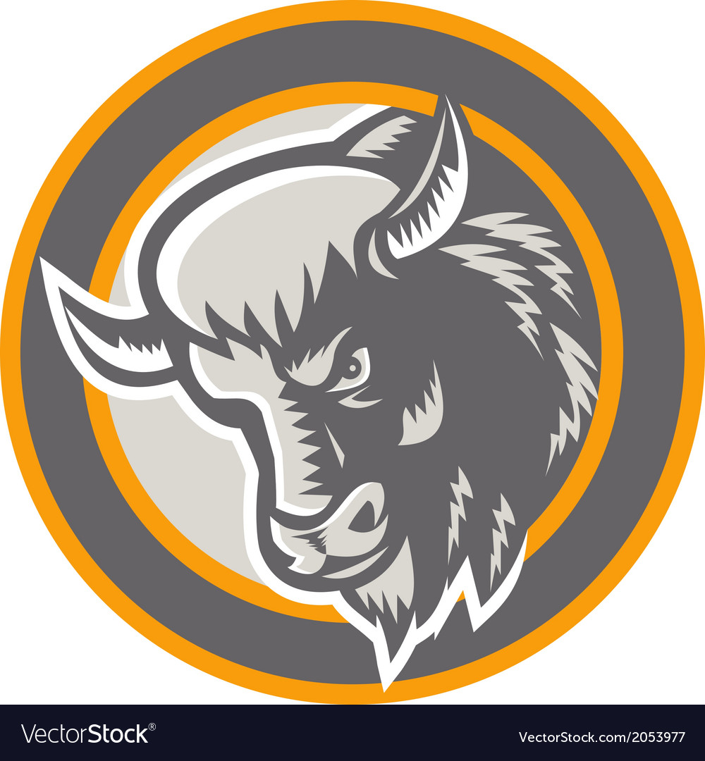American buffalo bison head circle retro vector | Price: 1 Credit (USD $1)