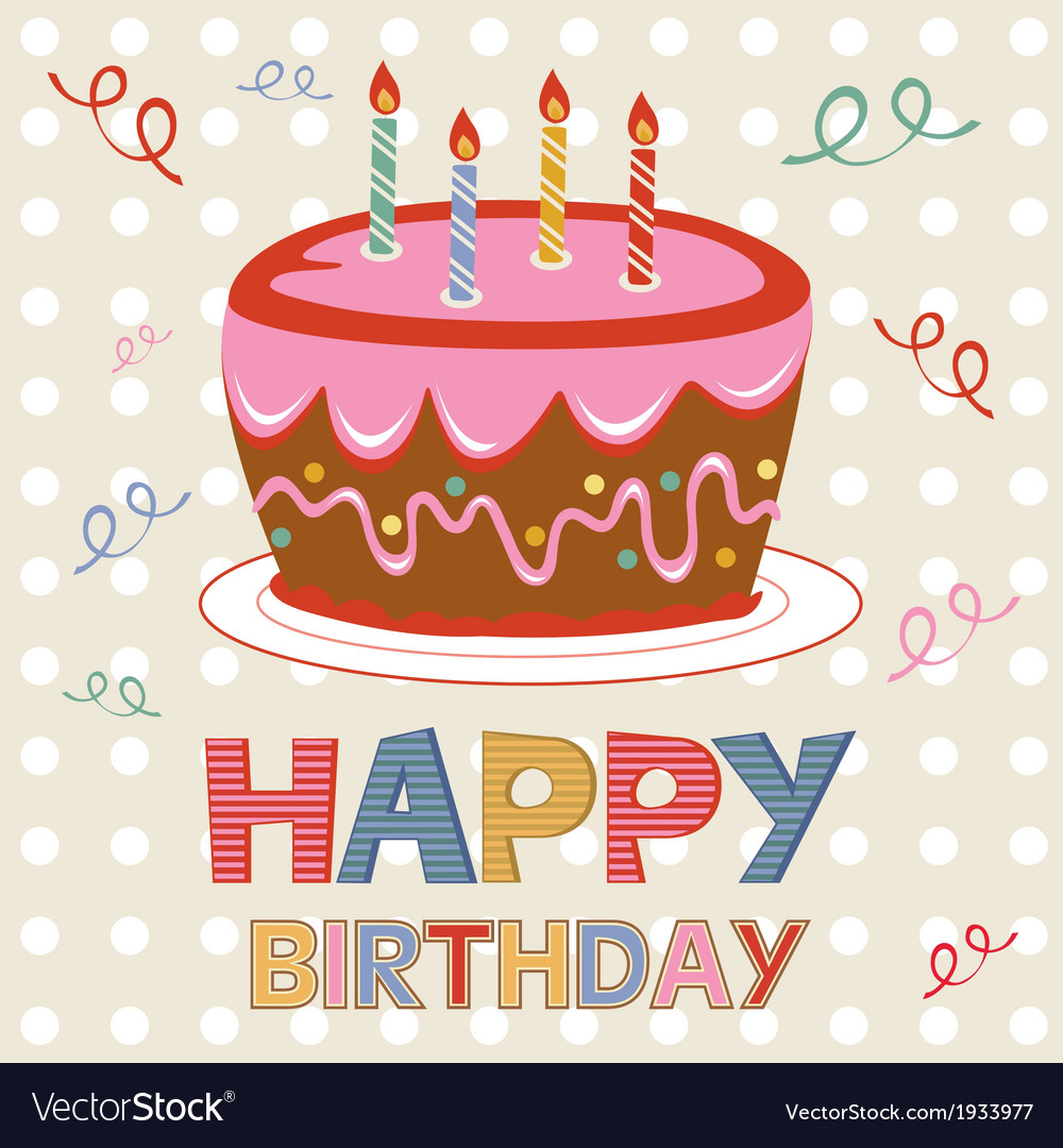 Birthday card with cake vector | Price: 1 Credit (USD $1)