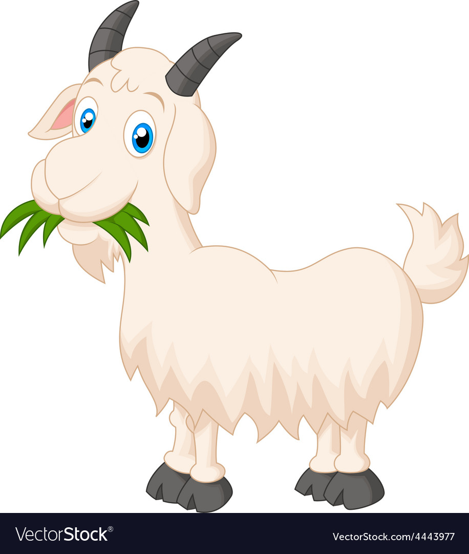 Cartoon goat eating grass vector | Price: 1 Credit (USD $1)