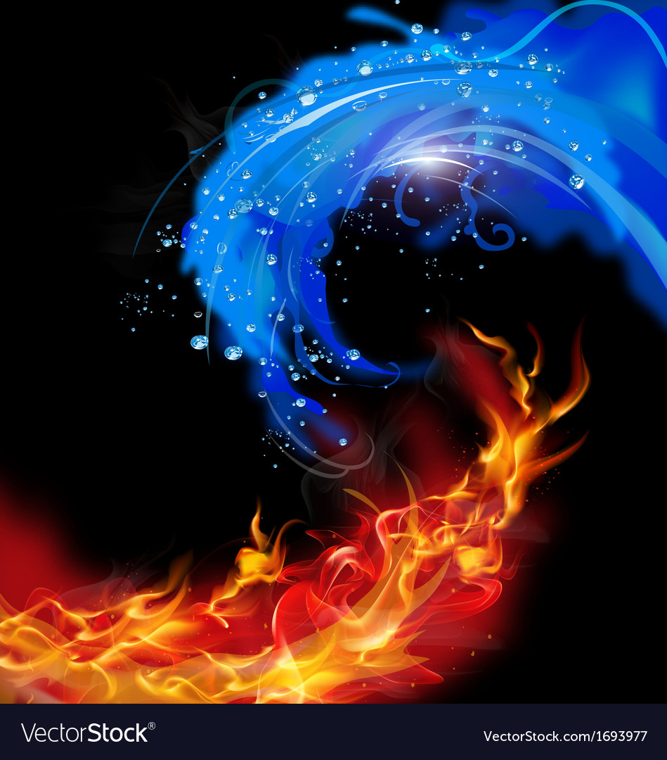 Fire and water concept vector