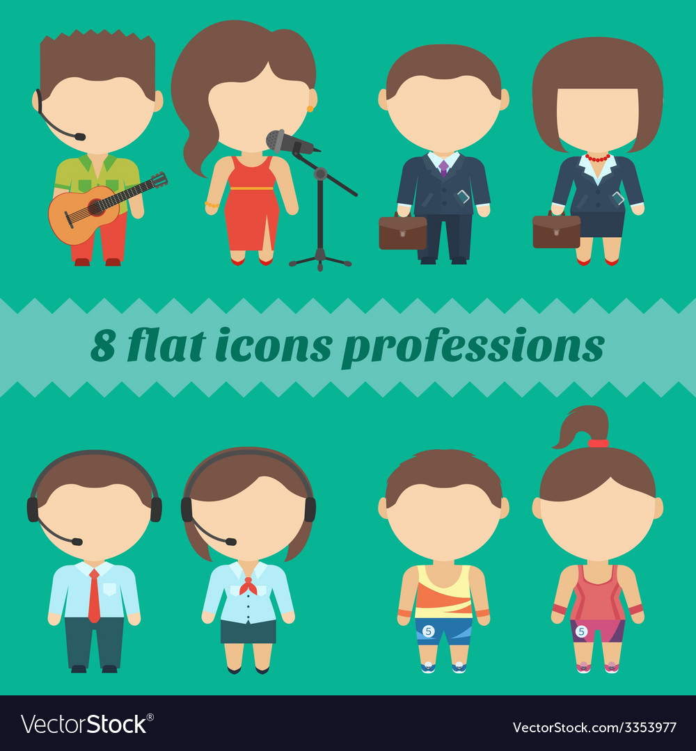 Flat icons professions set of male and female vector | Price: 1 Credit (USD $1)