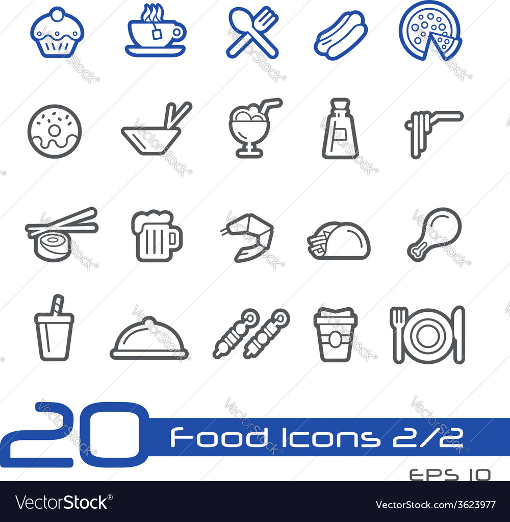 Food icons outline series vector | Price: 1 Credit (USD $1)
