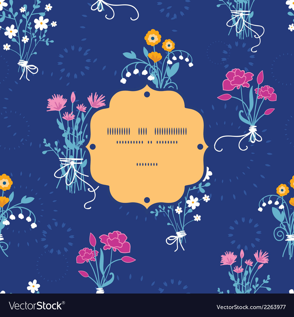 Fresh flower bouquets frame seamless pattern vector | Price: 1 Credit (USD $1)
