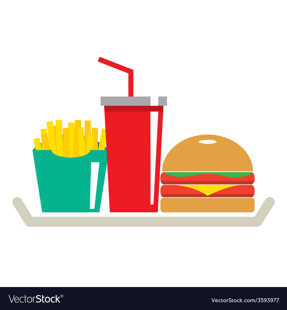 Hamburger french fries and a glass of cola in tray vector | Price: 1 Credit (USD $1)