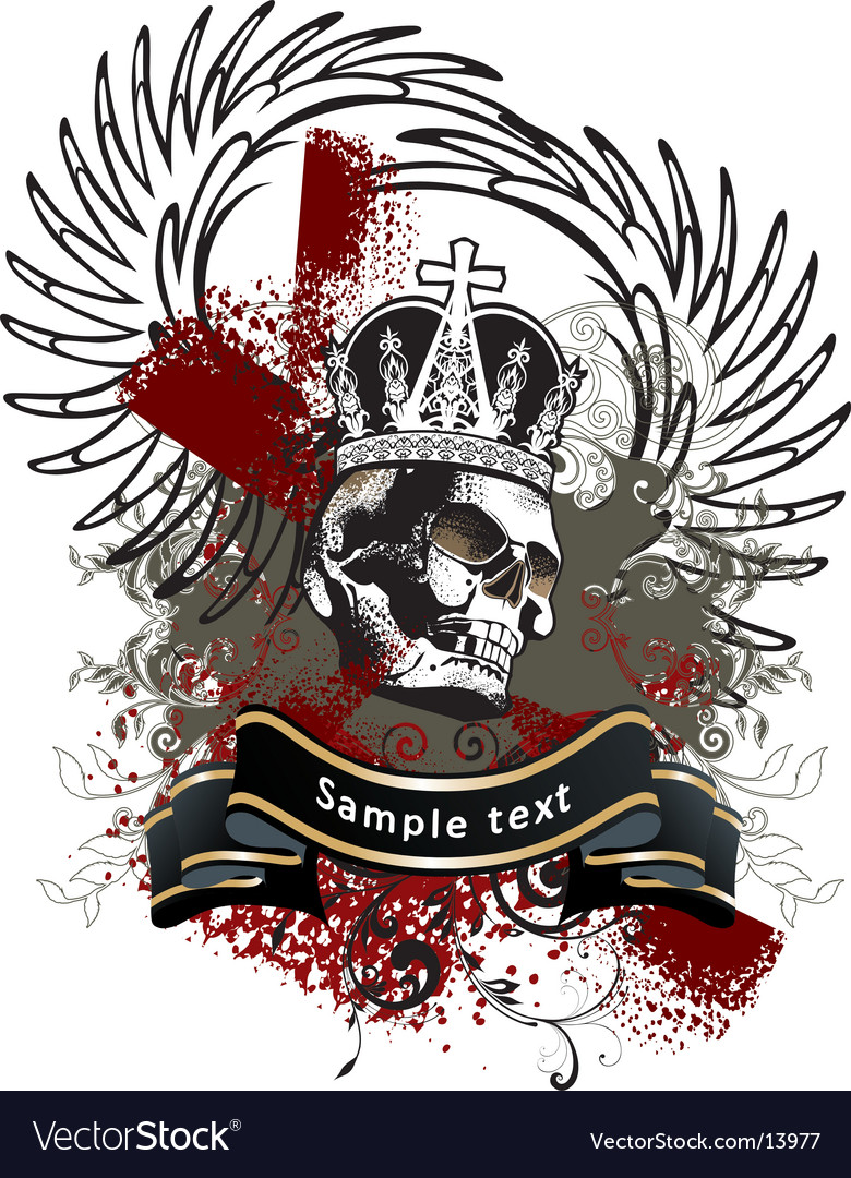 Heraldry with skull vector | Price: 1 Credit (USD $1)