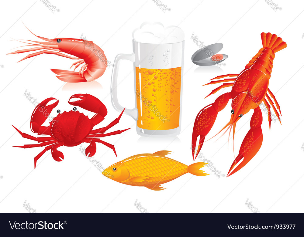 Mug of beer and snack to beer - seafood vector | Price: 1 Credit (USD $1)
