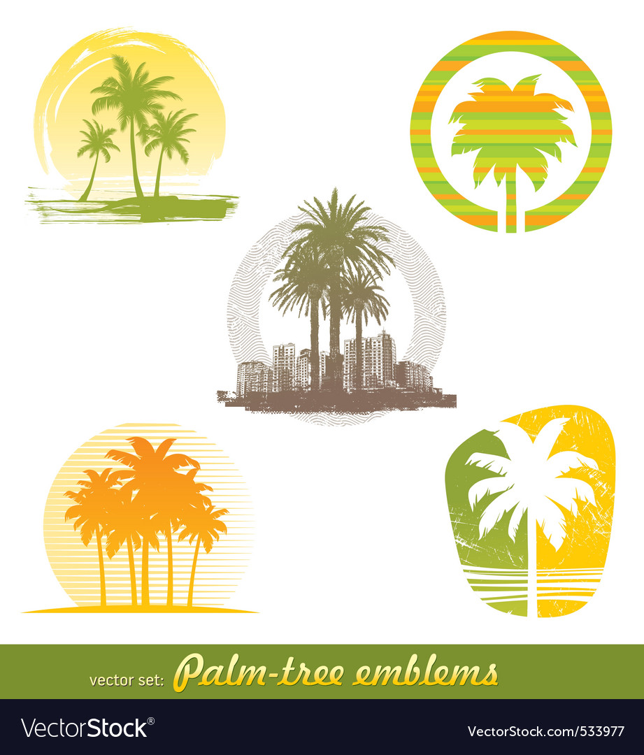 Palm tree emblems labels vector