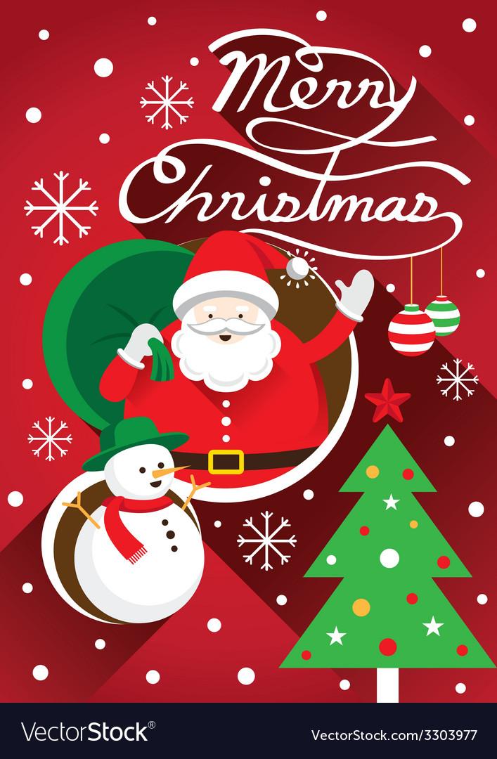 Santa christmas text and tree vector | Price: 1 Credit (USD $1)