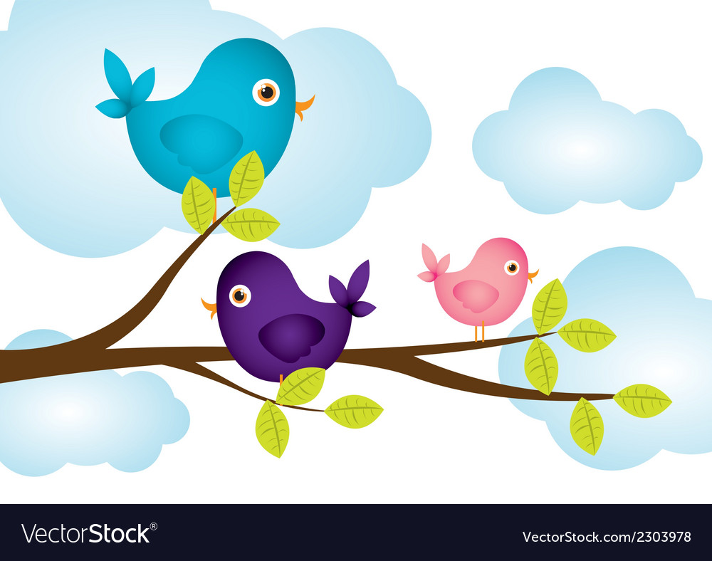 Birds on tree branches clouds in background vector | Price: 1 Credit (USD $1)