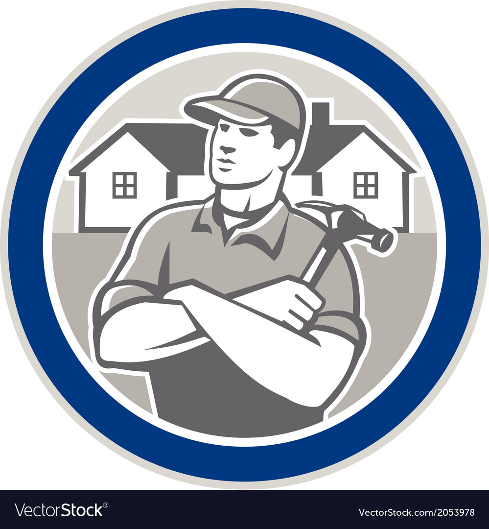 Builder carpenter hammer houses circle retro vector | Price: 1 Credit (USD $1)