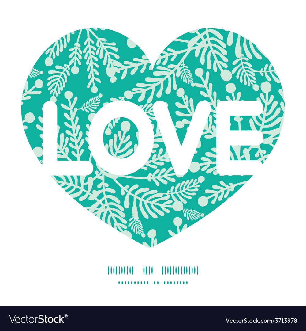 Emerald green plants love text frame vector | Price: 1 Credit (USD $1)