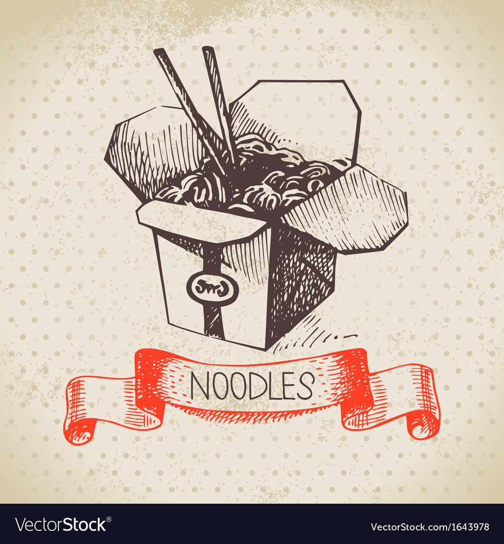 Hand drawn vintage chinese noodles background vector | Price: 1 Credit (USD $1)