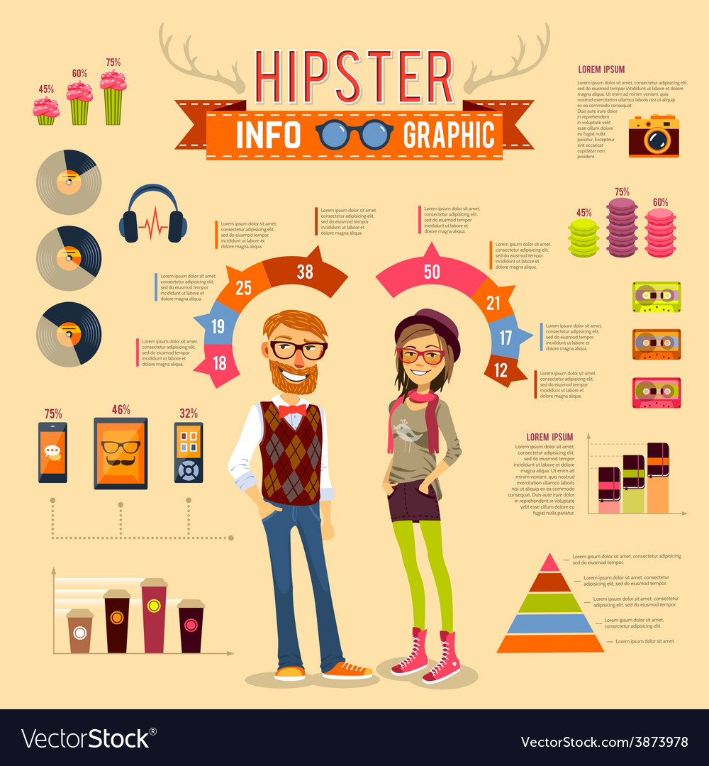 Hipster infographic set vector | Price: 1 Credit (USD $1)