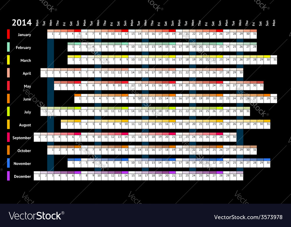 Linear calendar 2014 vector | Price: 1 Credit (USD $1)
