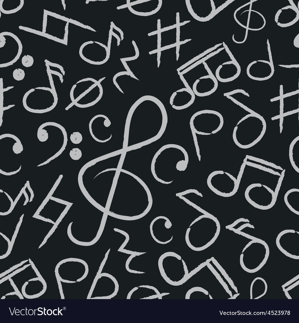 Music note icons on black board seamless pattern vector | Price: 1 Credit (USD $1)