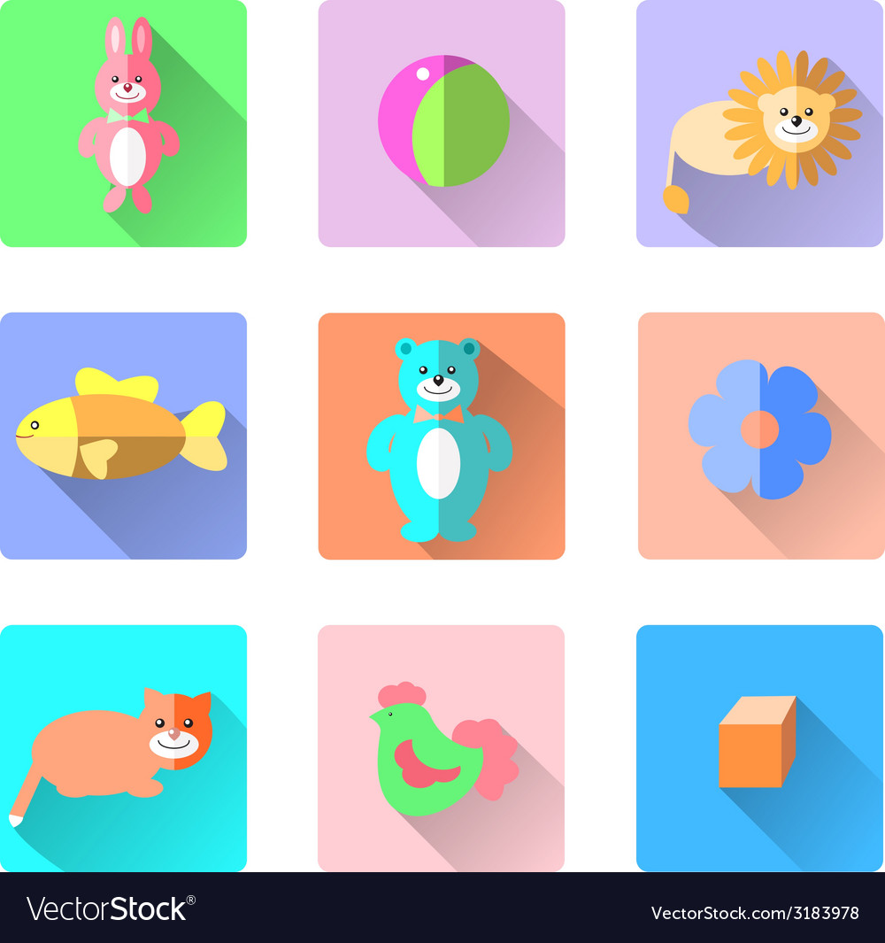Set of colorful kids toys icons in flat style like vector | Price: 1 Credit (USD $1)