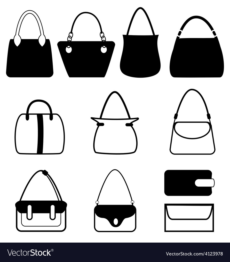 Set of flat woman bags isolated on white vector | Price: 1 Credit (USD $1)