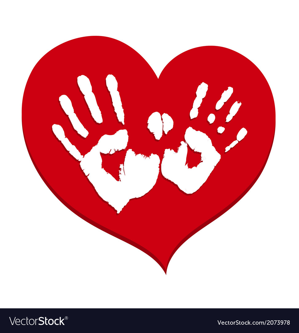 Two white handprints on a red heart vector | Price: 1 Credit (USD $1)