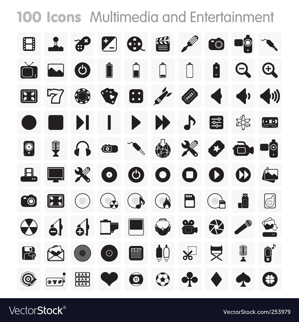 100 icons multimedia vector | Price: 1 Credit (USD $1)