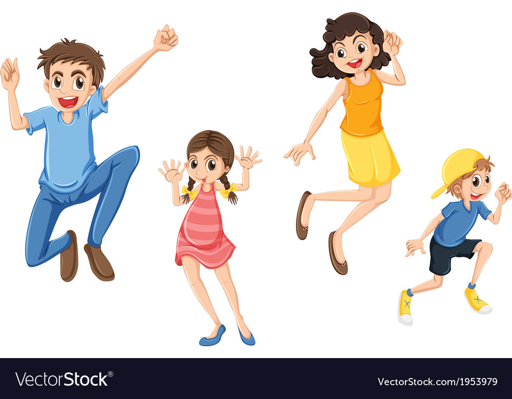 A happy family jumping vector | Price: 1 Credit (USD $1)