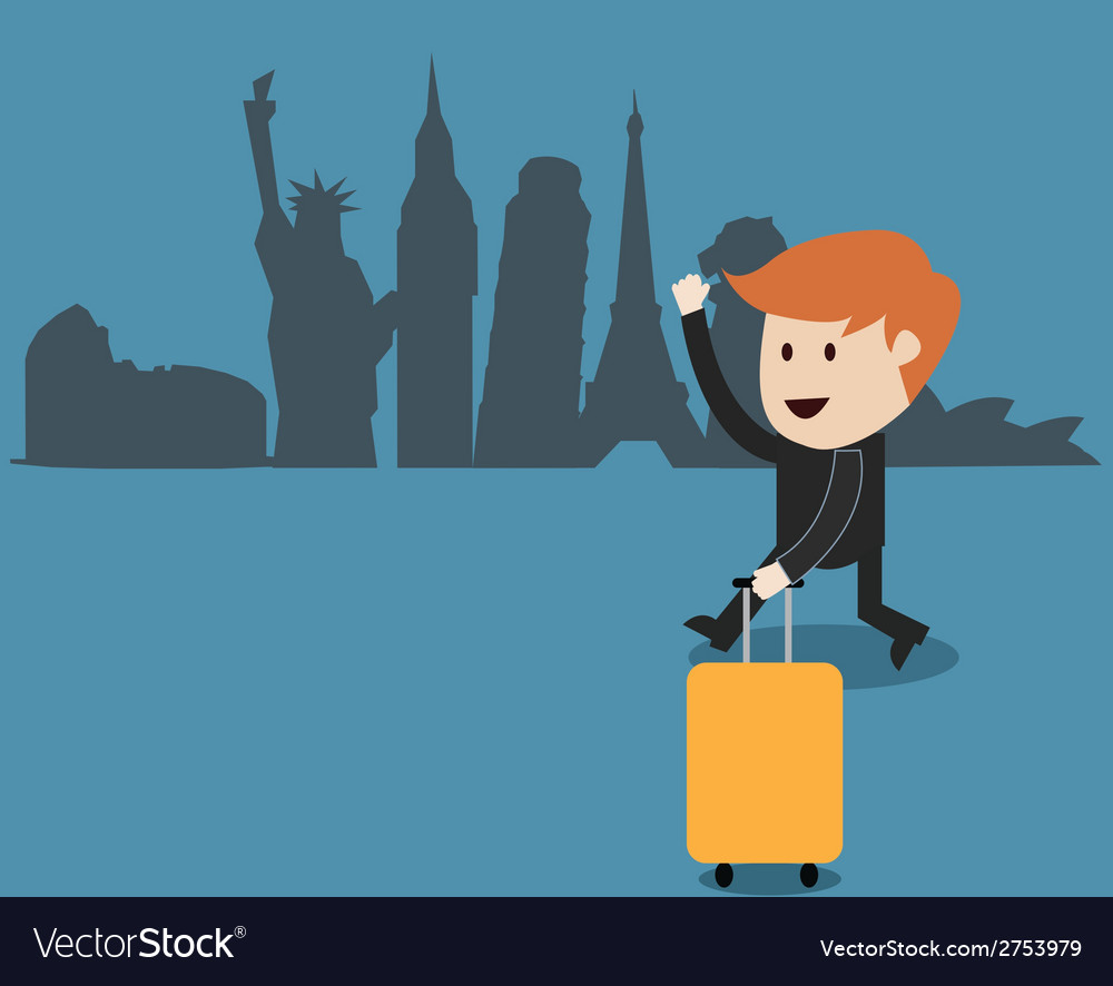 Business man travel around the world vector | Price: 1 Credit (USD $1)