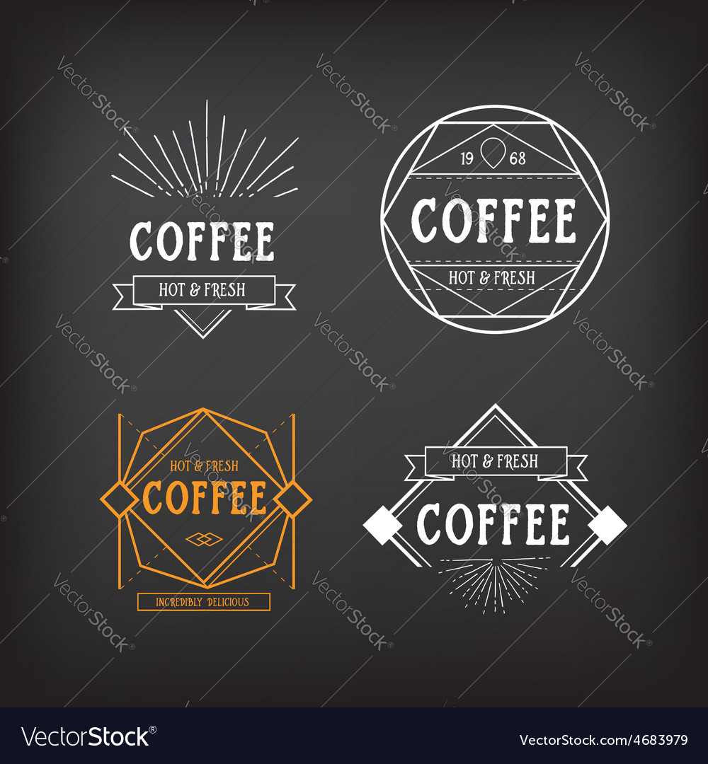 Coffee menu logo template vintage geometric badge vector | Price: 1 Credit (USD $1)