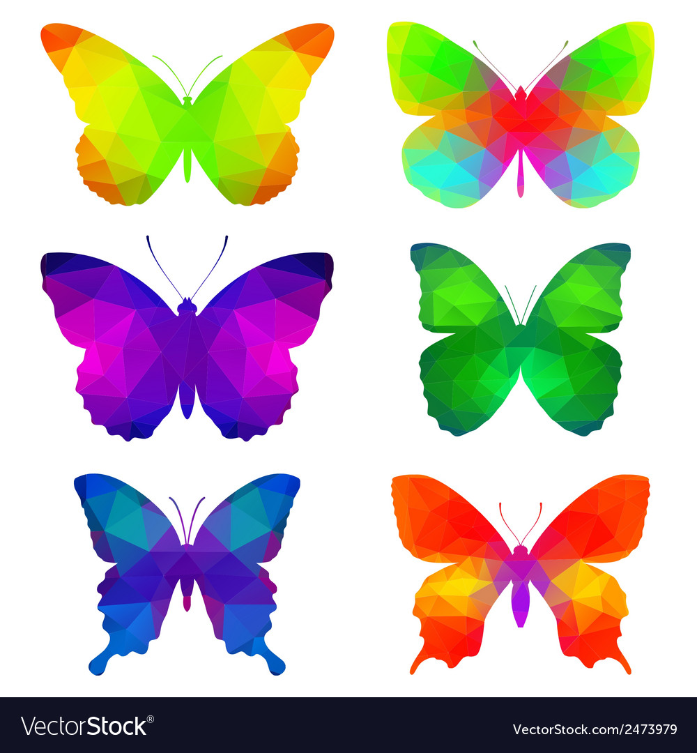 Colorful butterflies with triangular polygons vector | Price: 1 Credit (USD $1)