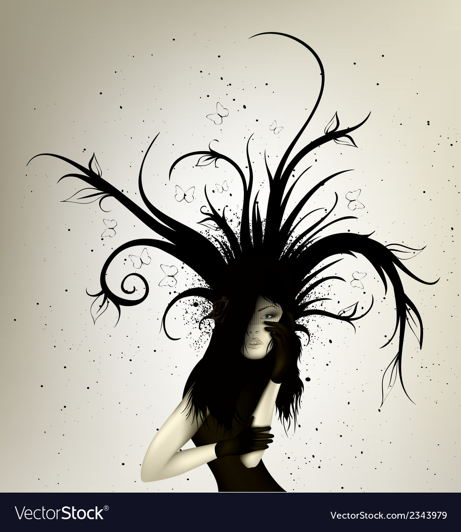 Dark girl with abstract lines vector | Price: 1 Credit (USD $1)