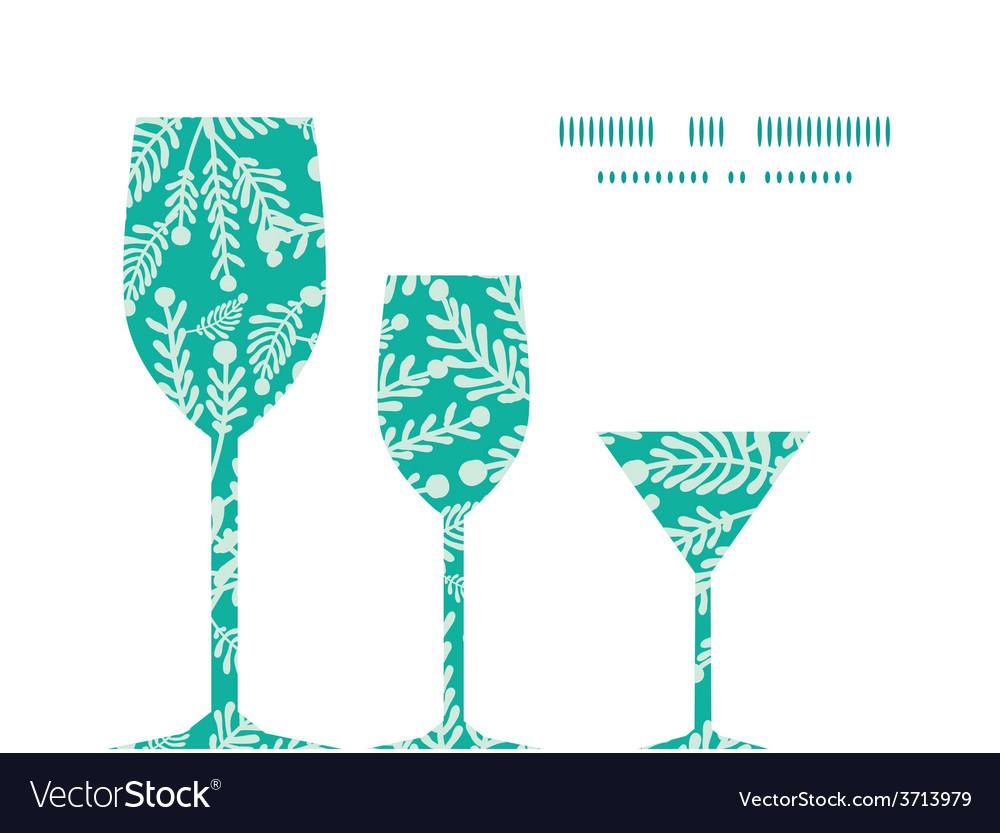 Emerald green plants three wine glasses vector   Price: 1 Credit (USD $1)