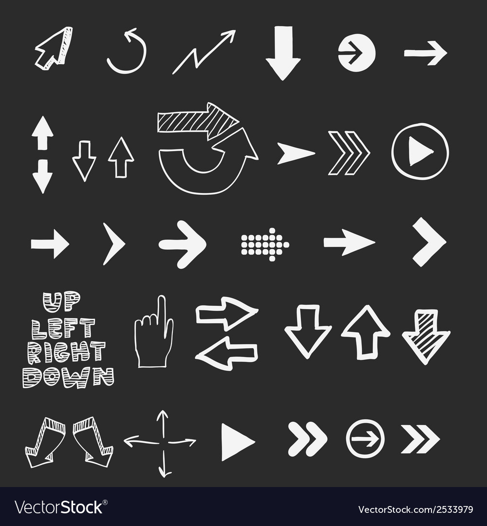 Hand draw doodle sketch arrows - pointers cursors vector | Price: 1 Credit (USD $1)