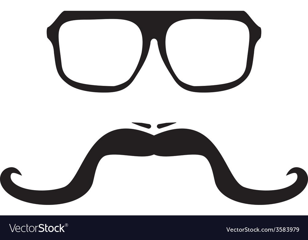 Men face with long mustache and hipster glasses vector | Price: 1 Credit (USD $1)