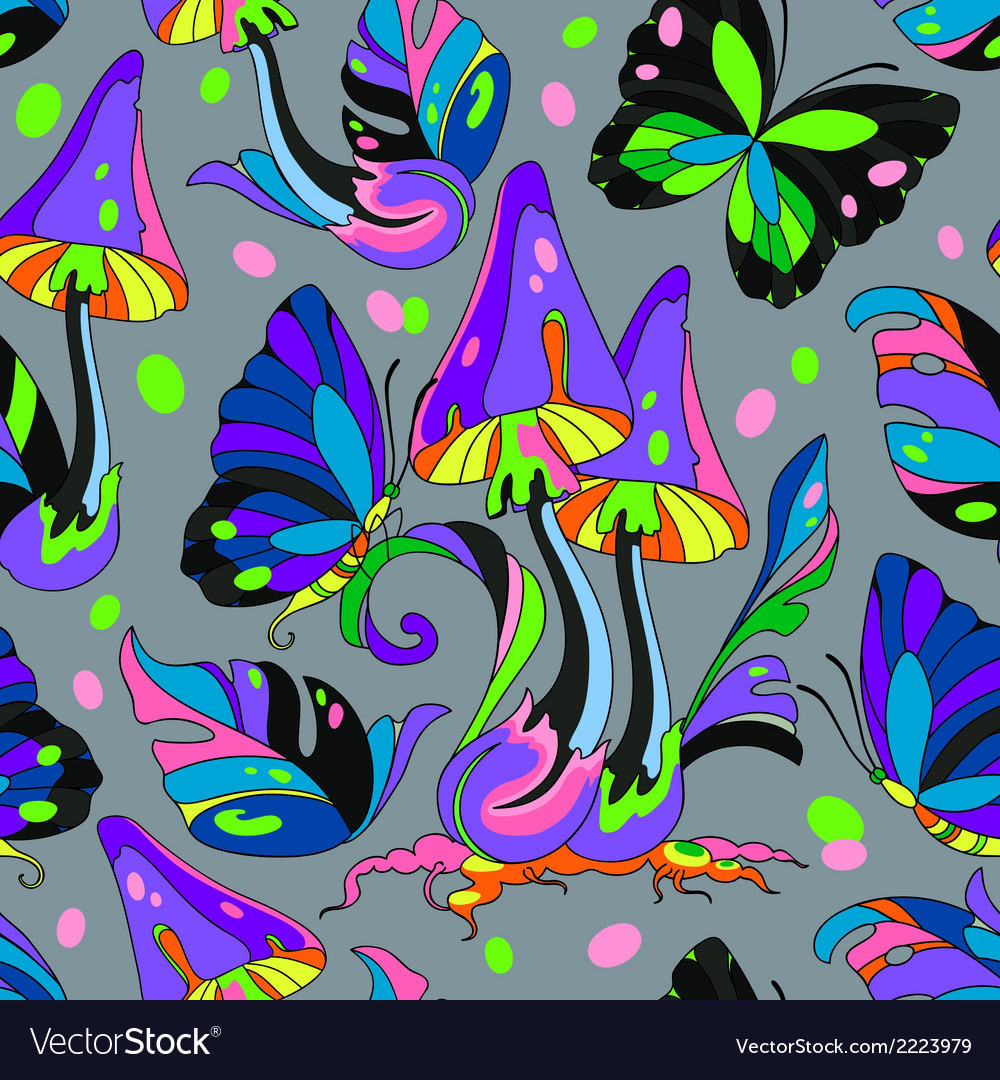 Mushroom and butterfly seamless pattern vector | Price: 1 Credit (USD $1)