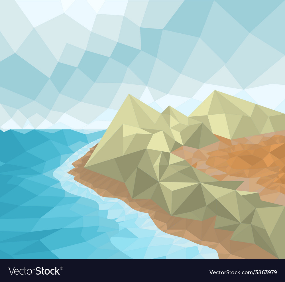 Poly seascape vector | Price: 1 Credit (USD $1)
