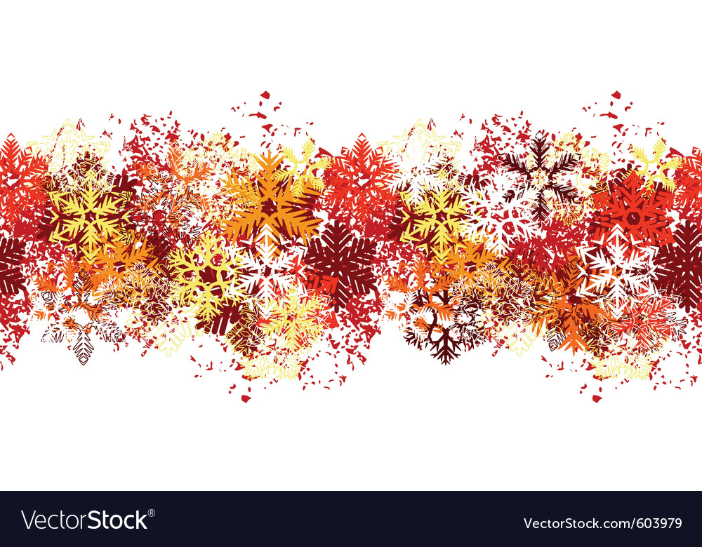 Seamless red border with different snowflakes vector | Price: 1 Credit (USD $1)