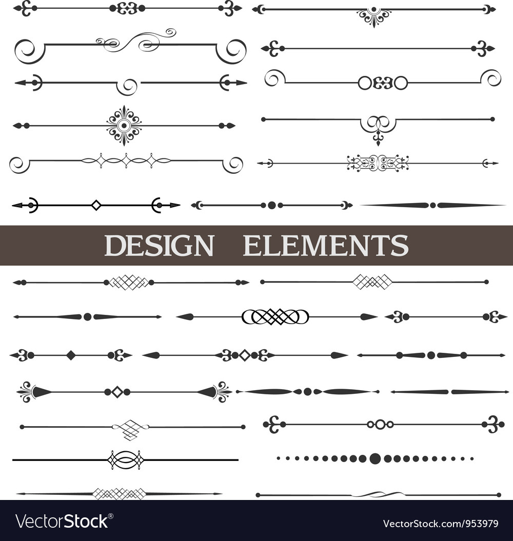 Set of calligraphic design elements and page decor vector | Price: 1 Credit (USD $1)