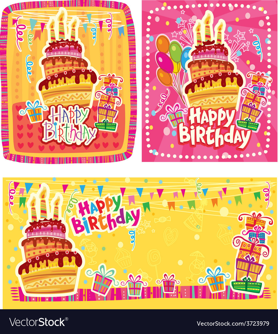 Set of happy birthday cards vector | Price: 1 Credit (USD $1)