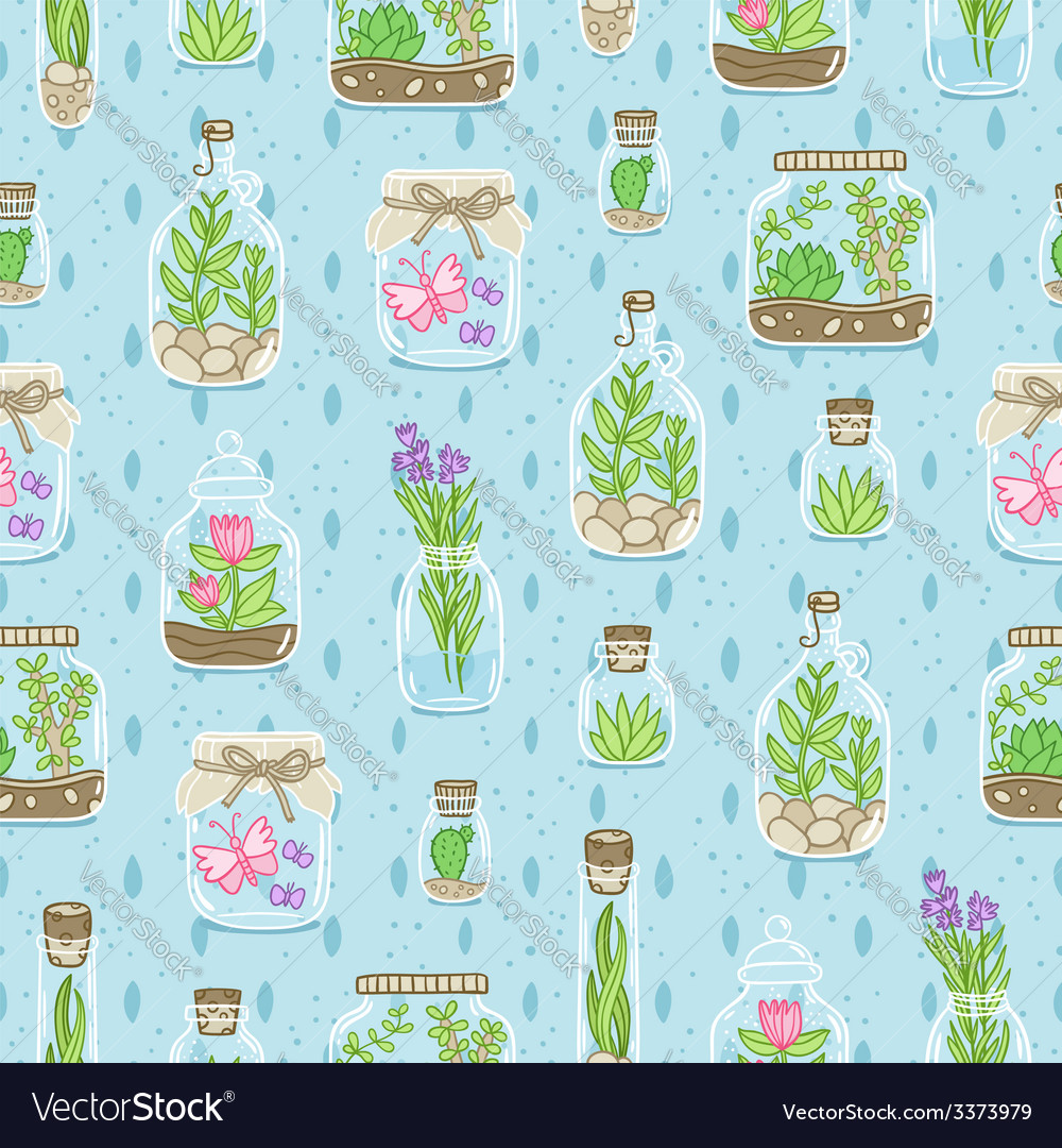 Terrariums on blue background seamless pattern vector | Price: 1 Credit (USD $1)