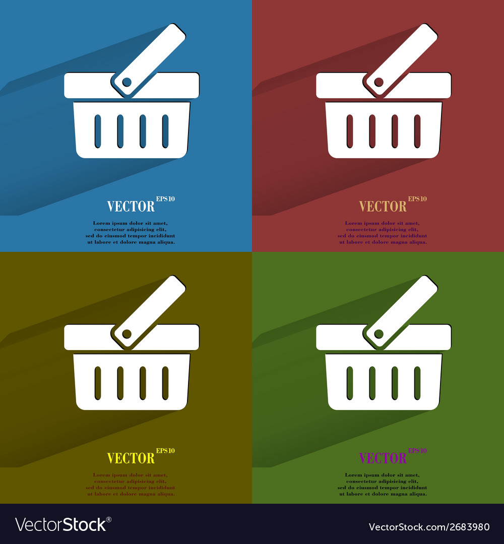 Color set shopping basket flat modern web button vector | Price: 1 Credit (USD $1)