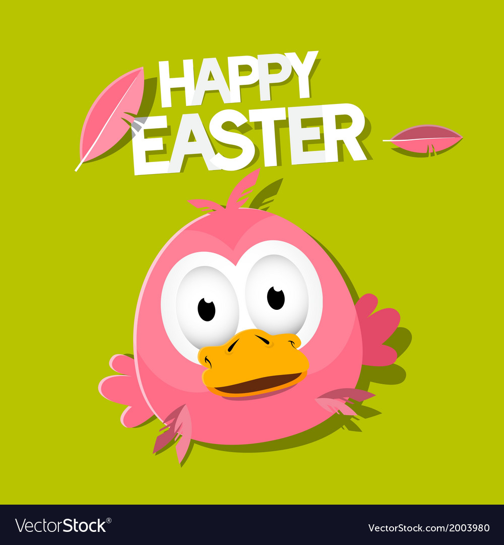 Easter chicken on green background happy easter vector   Price: 1 Credit (USD $1)
