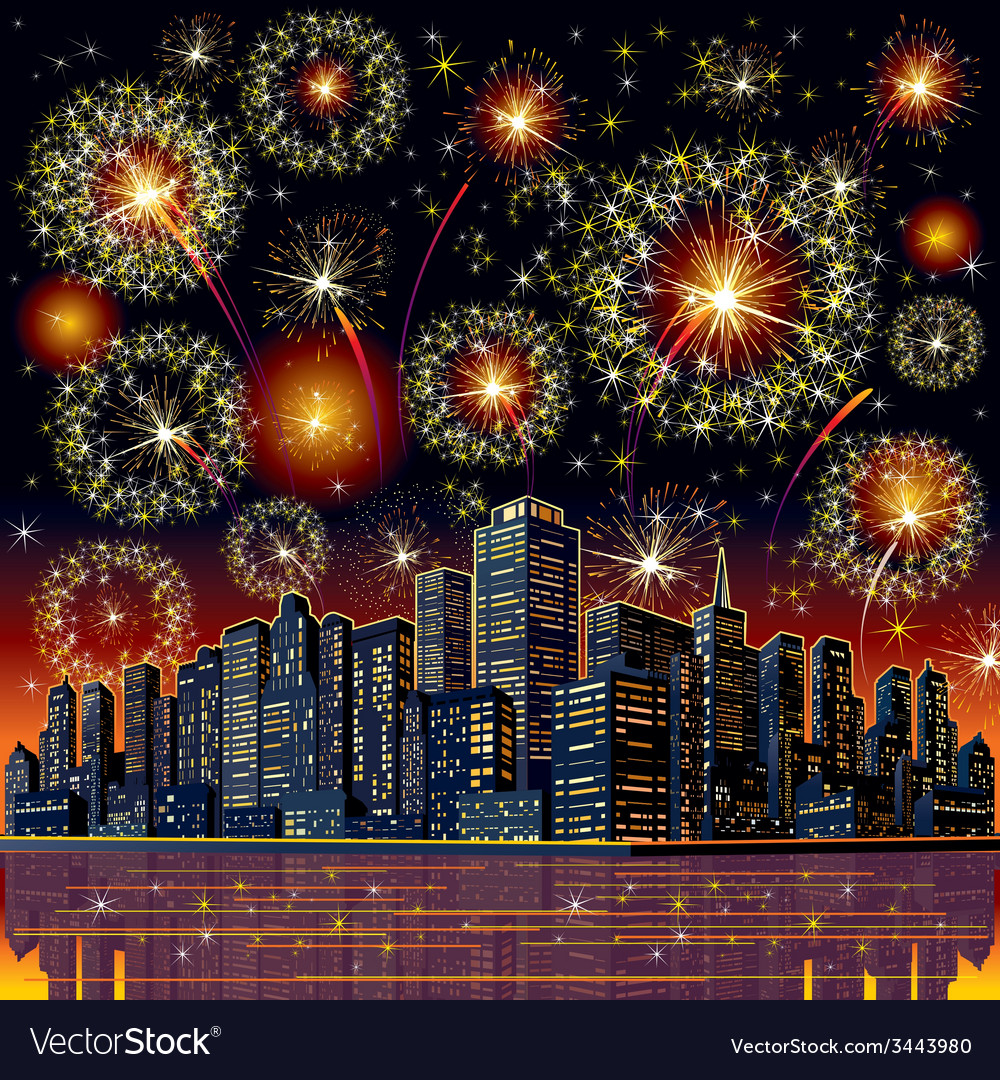 Firework city at night vector | Price: 3 Credit (USD $3)