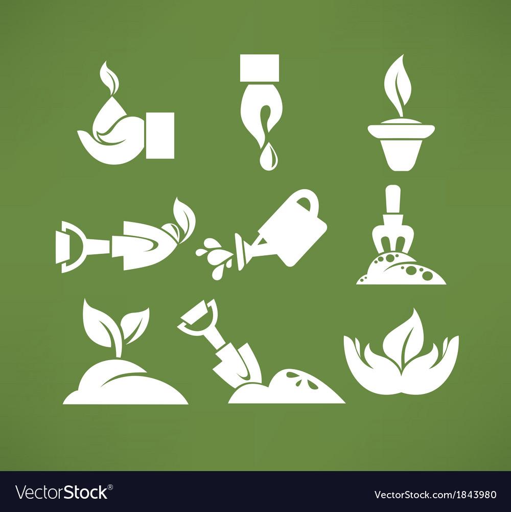 Gardening symbols vector | Price: 1 Credit (USD $1)