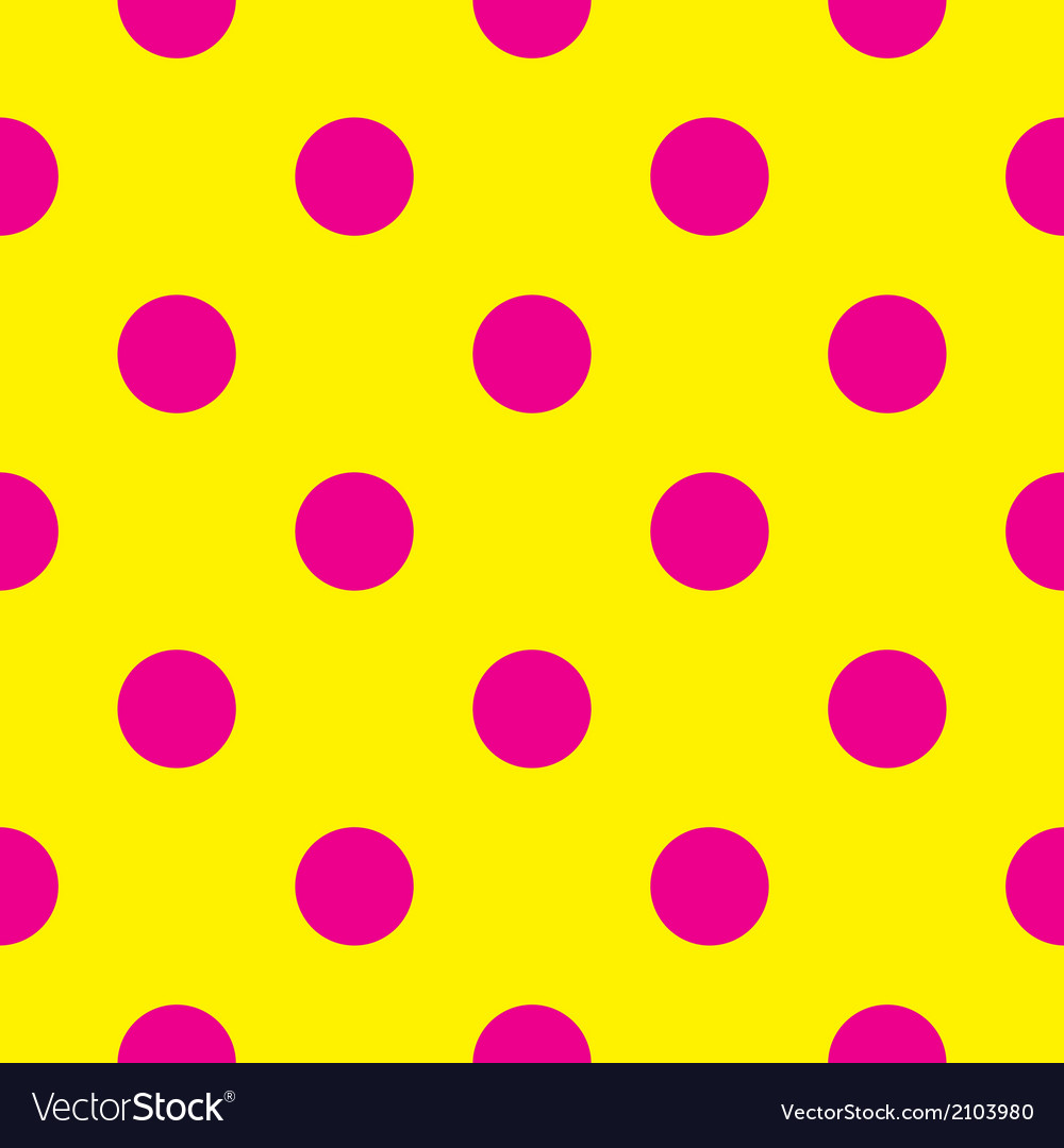Pink polka dots on yellow background tile pattern vector   Price: 1 Credit (USD $1)