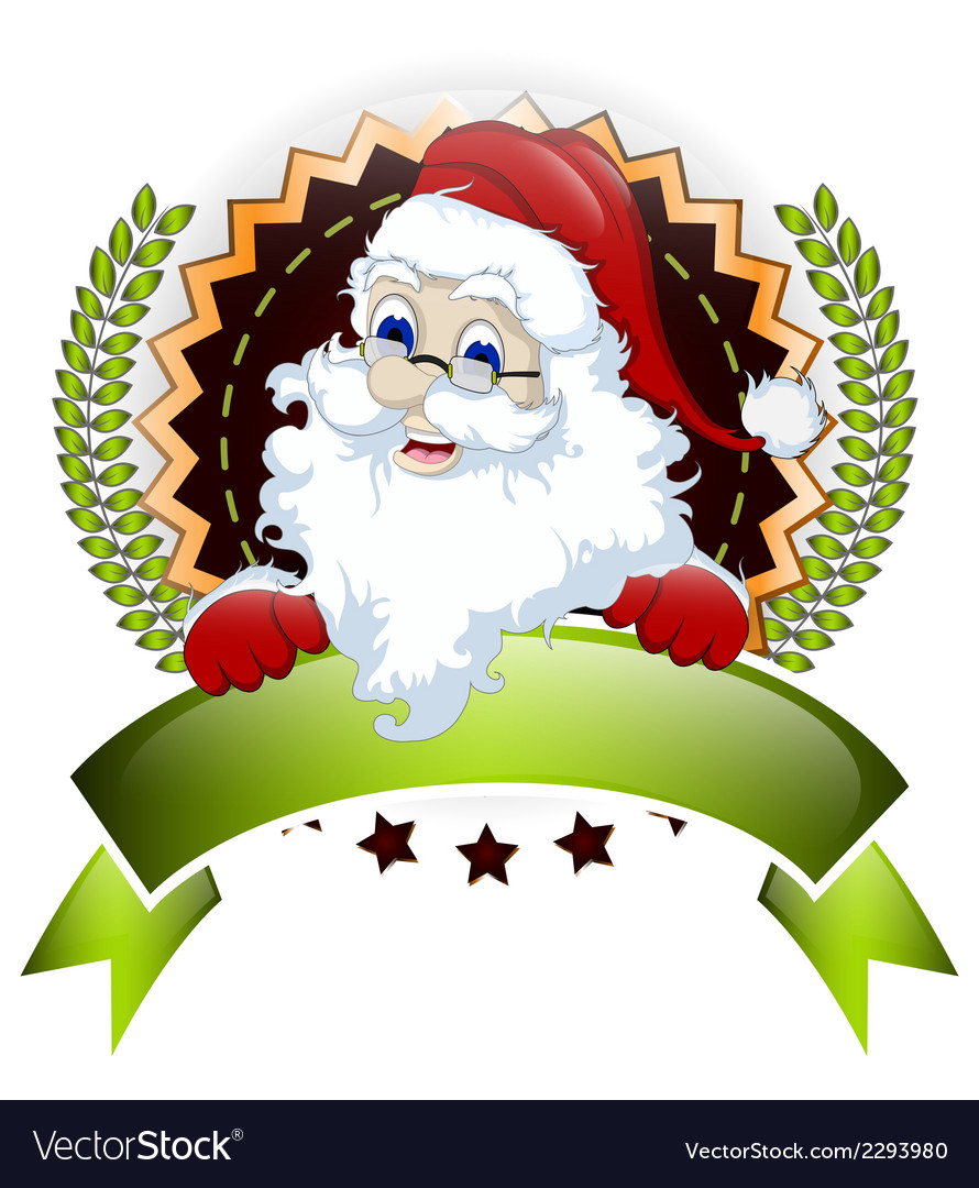 Santa claus with blank sign for you design vector   Price: 1 Credit (USD $1)