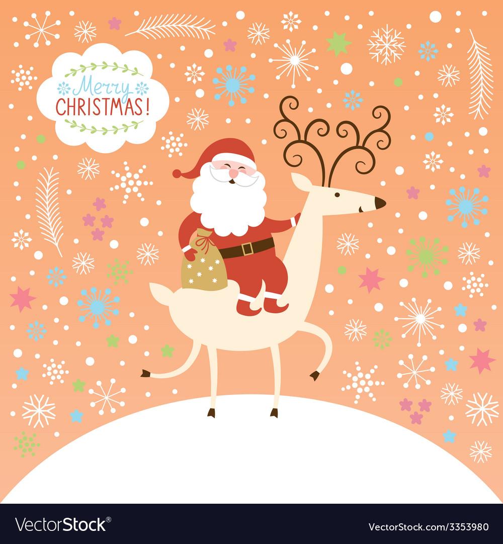 Santa goes on deer vector | Price: 1 Credit (USD $1)