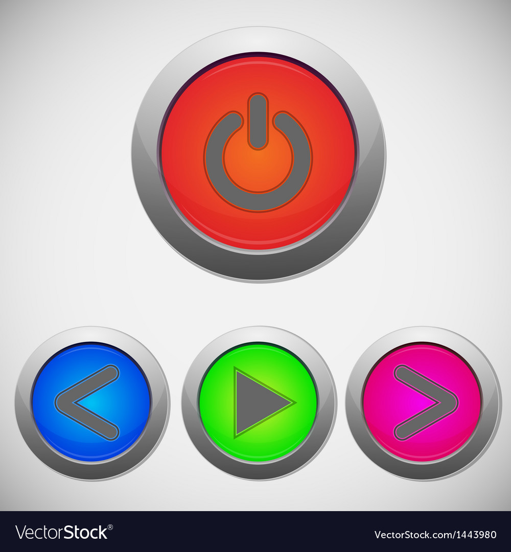Set of player sign buttons vector | Price: 1 Credit (USD $1)