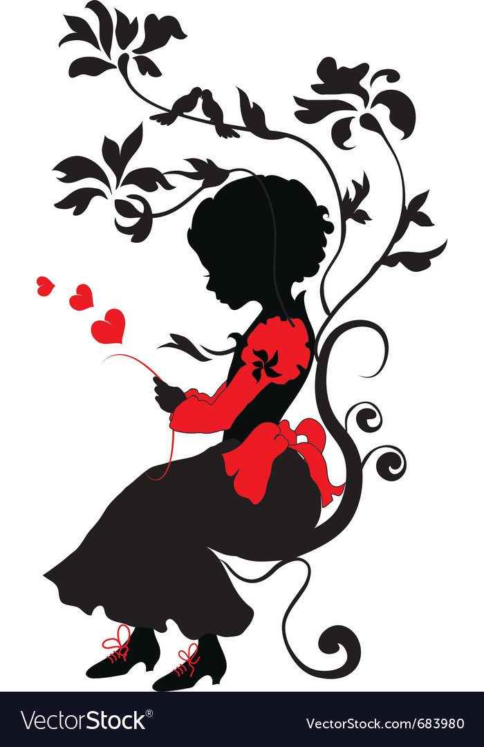 Silhouette little girl with love letter vector | Price: 1 Credit (USD $1)