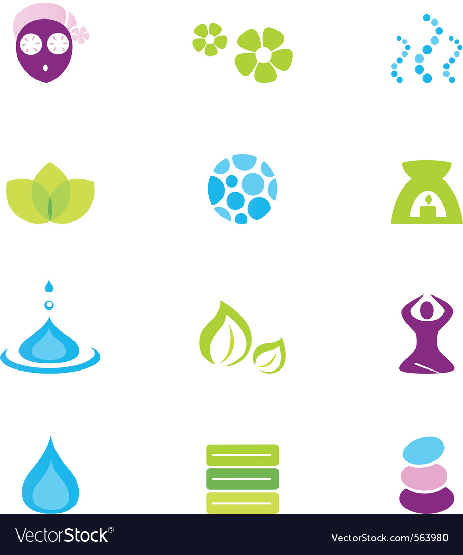 Wellness spa and nature icons vector | Price: 1 Credit (USD $1)