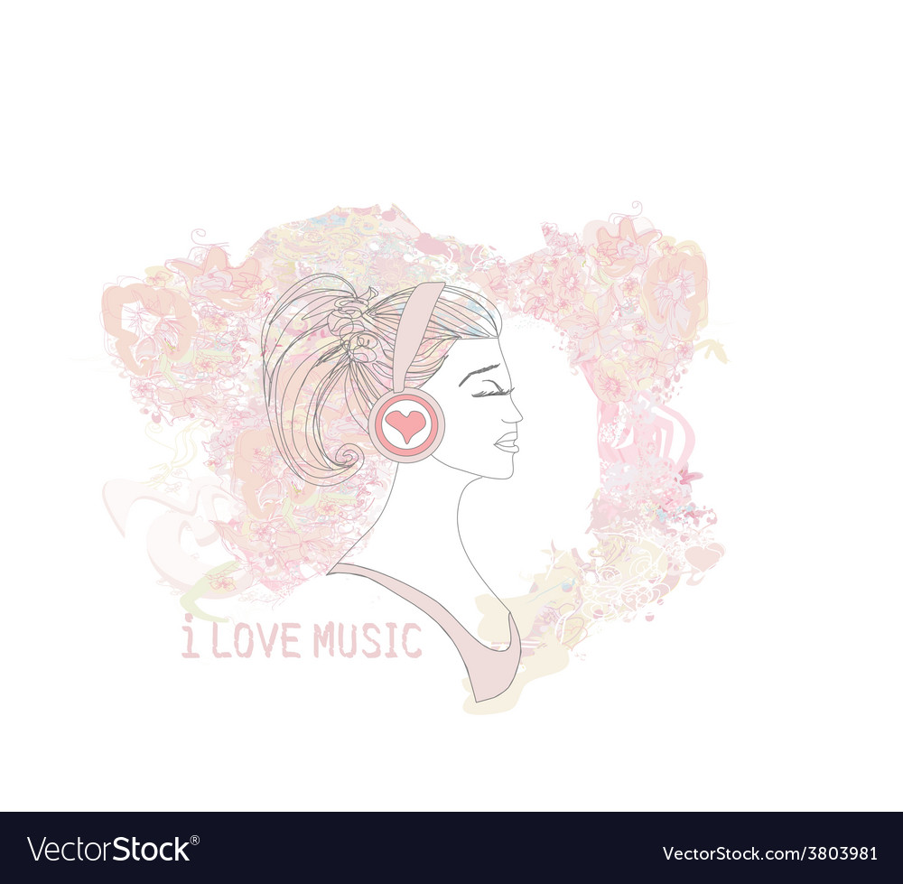 Beautiful young woman in headphones listening to vector | Price: 1 Credit (USD $1)